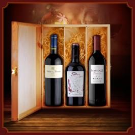 Dovana - trys vyno buteliai medinėje dėžutėje