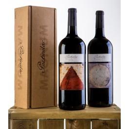 Didelis vyno butelis dėžutėje