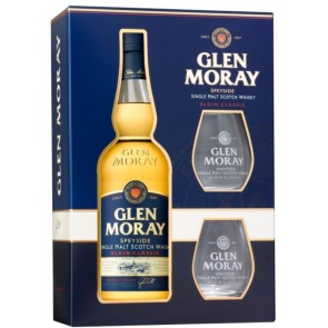 GLEN MORAY ELGIN CLASSIC Speyside Single Malt Scotch Whisky su taurėmis