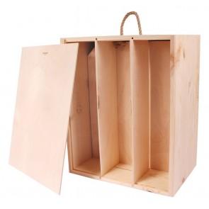Natūralios medienos dėžutė 3 buteliams