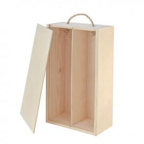 Natūralios medienos dėžutė 2 buteliams