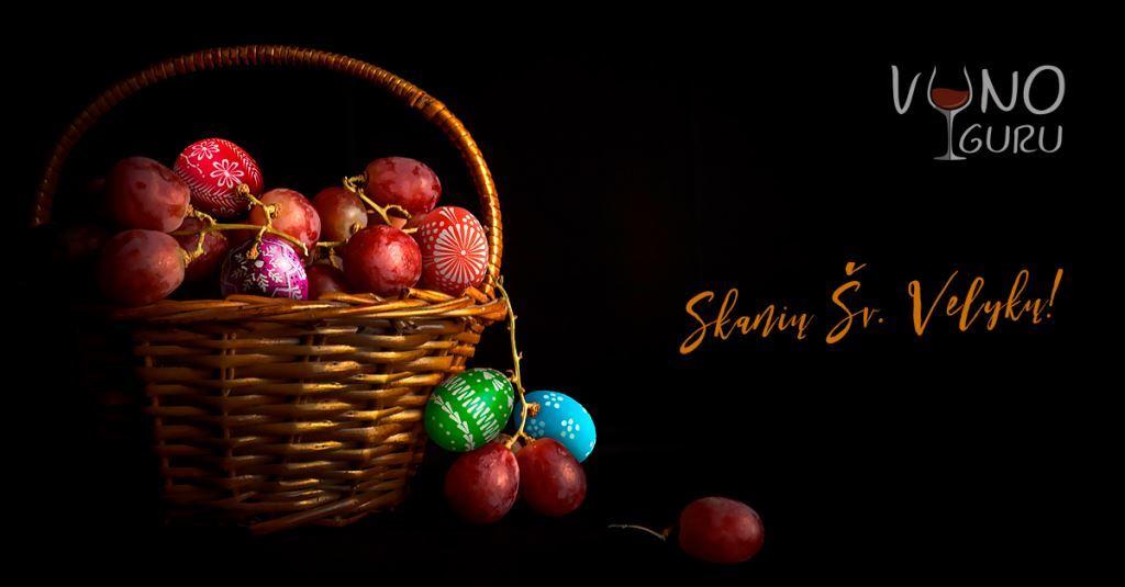 Vynuogės ir margučiai, skanių Šv. Velykų